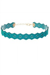 Laser Cut Choker Necklace - Turquoise