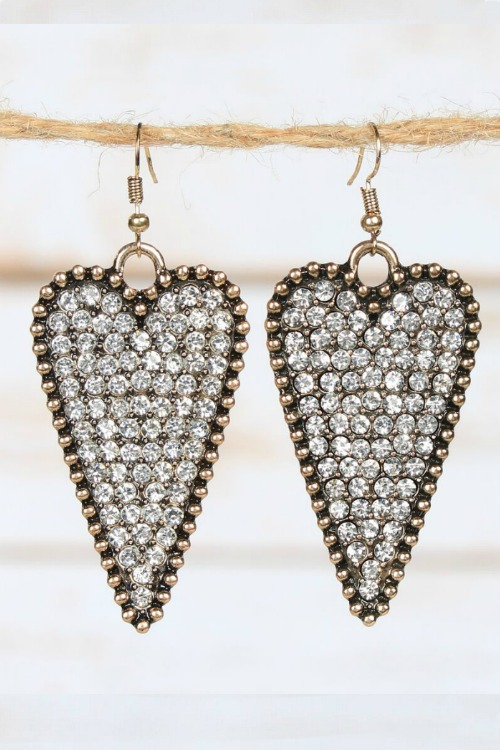 Crystal Heart Earrings - Clear Gold