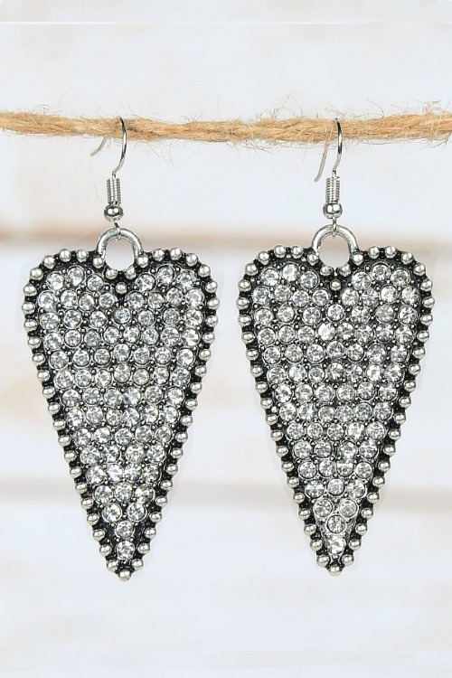 Crystal Heart Earrings - Clear Silver