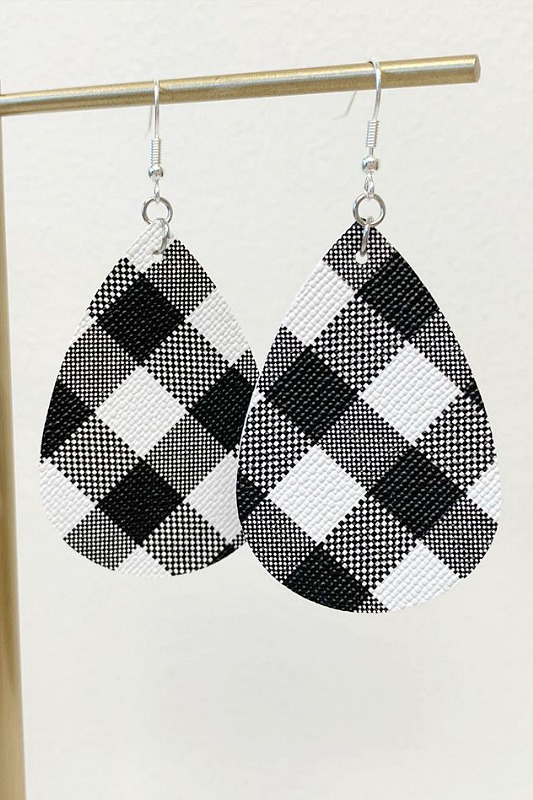 Buffalo Check Teardrop Earrings - White