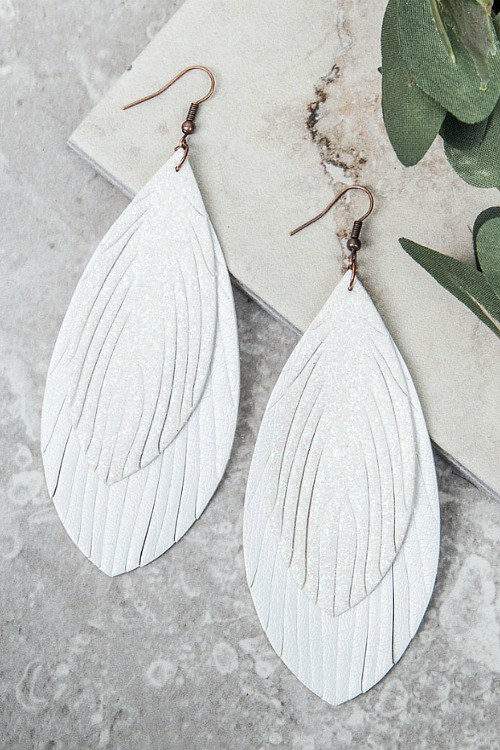 Glitter Feather Earrings - White