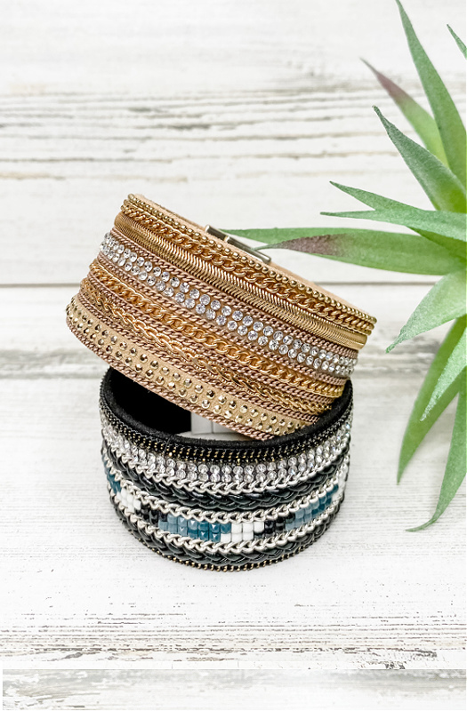 Easy Breezy Wide Cuff Bracelet With Magnetic Closure.